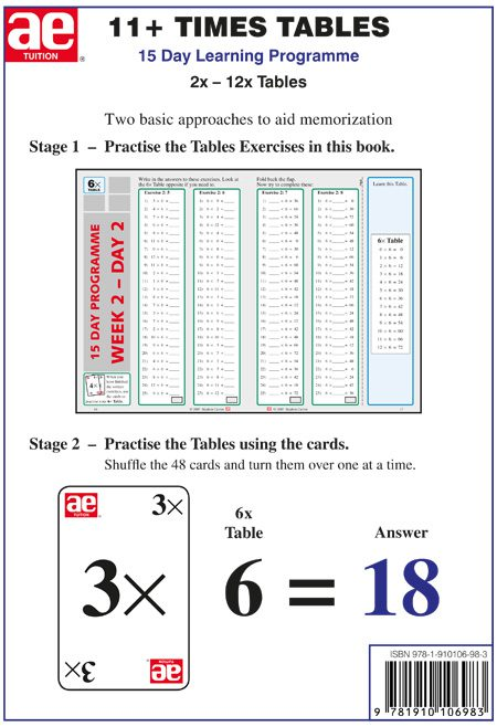 Number Names Worksheets 6 7 times tables : 11+ Times Tables Workbook 1 - AE Publications