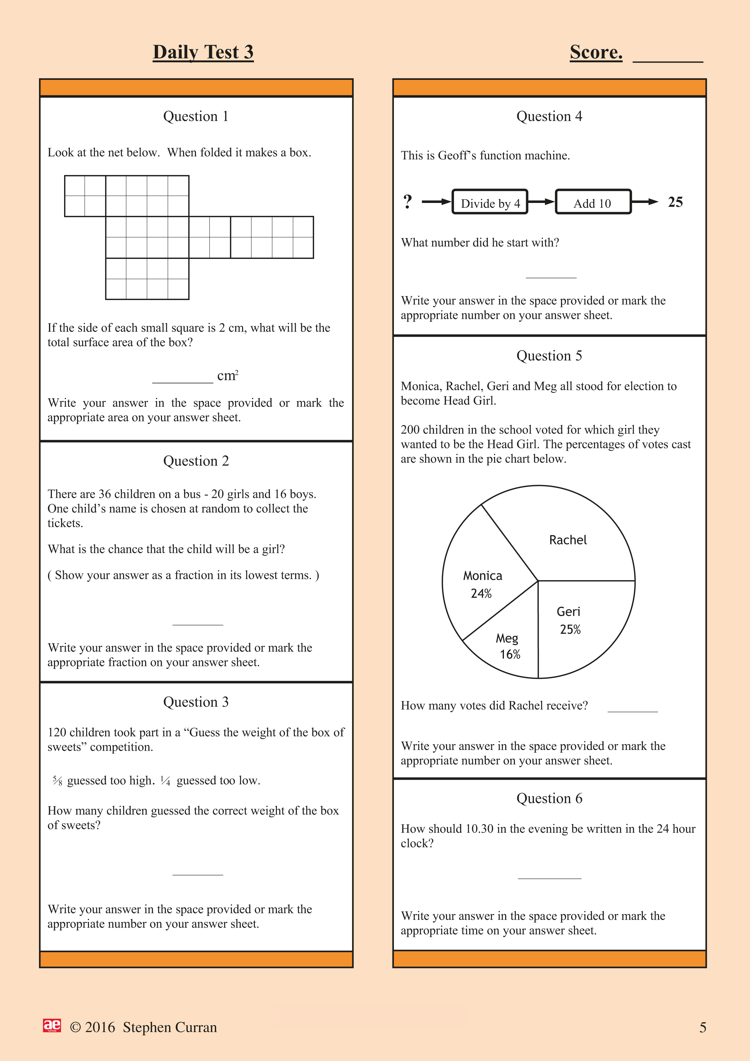 11 Plus Mathematics - Daily Practice Tests 1 - AE Publications