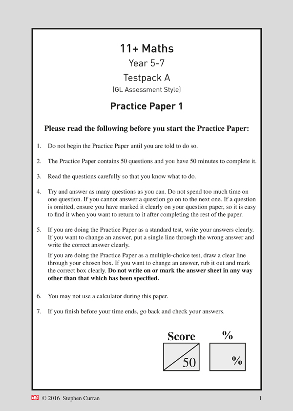 11+ Maths Year 5-7 Testpack A Papers 1-4 - AE Publications