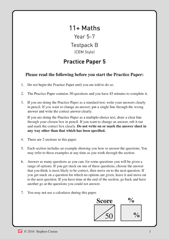 11+ Maths Year 5-7 Testpack B Papers 5-8 - AE Publications
